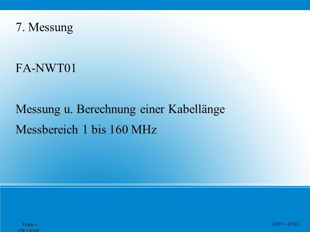 2010 - 2011 Hans - OE1SMC 7. Messung FA-NWT01 Messung u. Berechnung einer Kabellänge Messbereich 1 bis 160 MHz