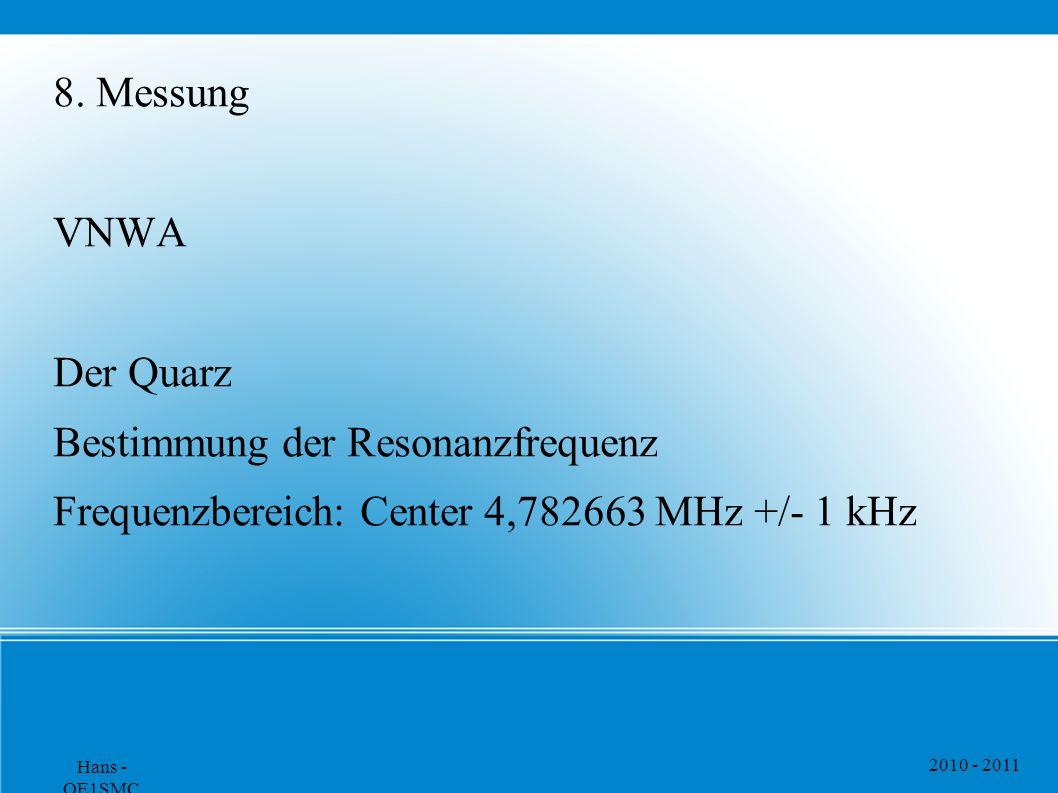 2010 - 2011 Hans - OE1SMC 8. Messung VNWA Der Quarz Bestimmung der Resonanzfrequenz Frequenzbereich: Center 4,782663 MHz +/- 1 kHz