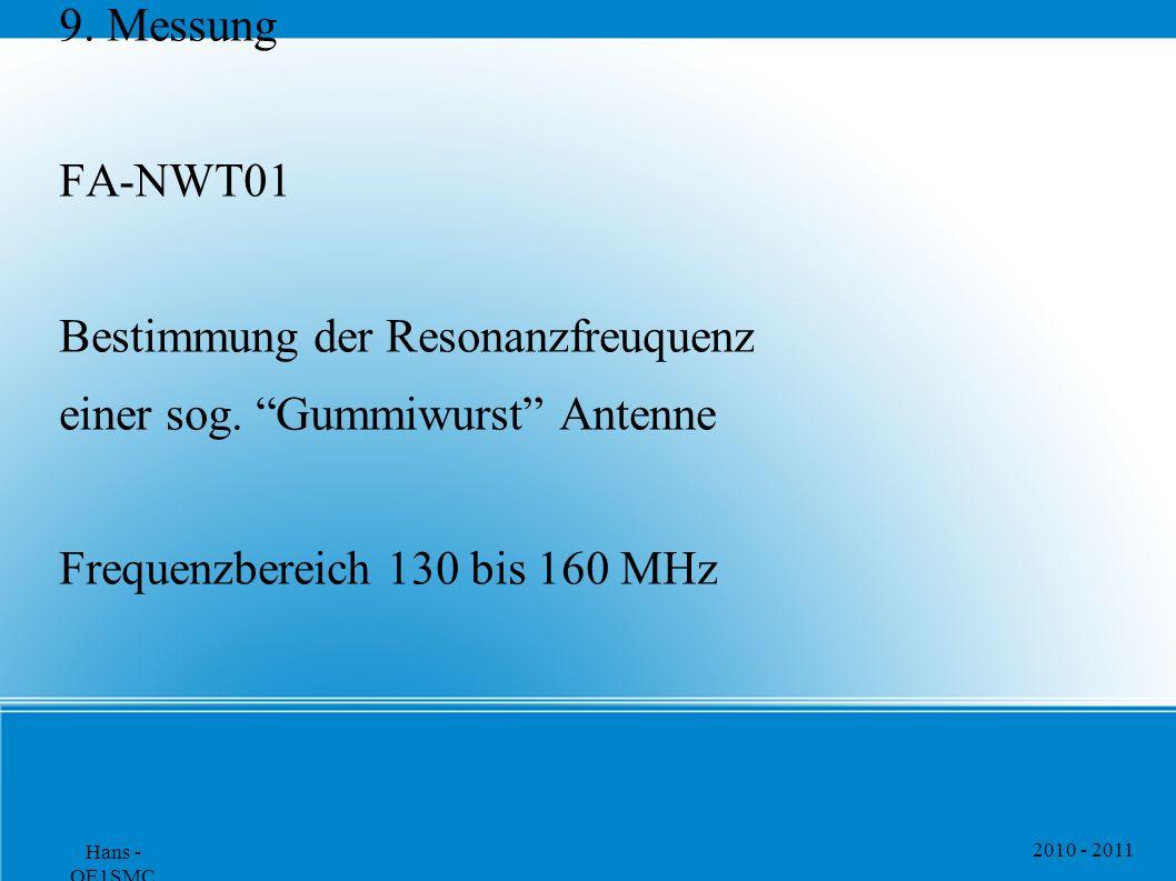 """2010 - 2011 Hans - OE1SMC 9. Messung FA-NWT01 Bestimmung der Resonanzfreuquenz einer sog. """"Gummiwurst"""" Antenne Frequenzbereich 130 bis 160 MHz"""