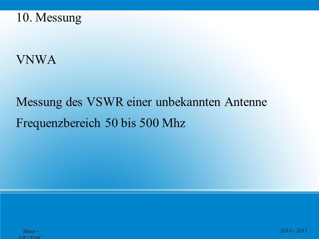 2010 - 2011 Hans - OE1SMC 10. Messung VNWA Messung des VSWR einer unbekannten Antenne Frequenzbereich 50 bis 500 Mhz