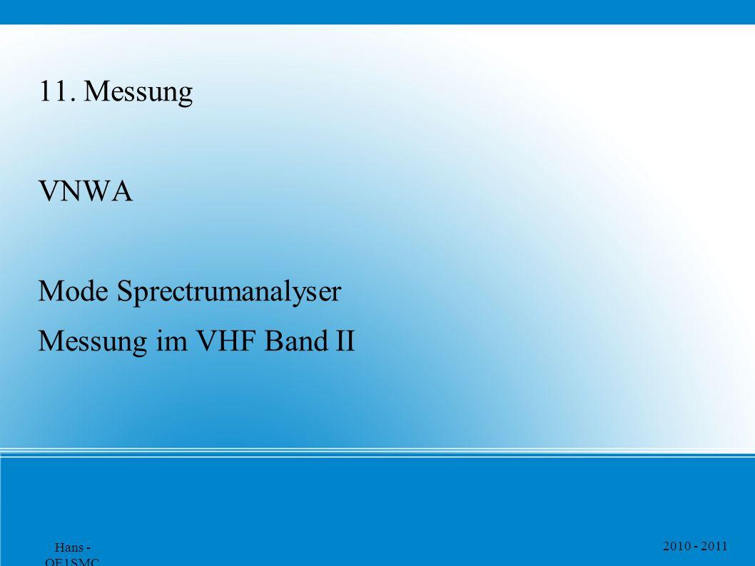 2010 - 2011 Hans - OE1SMC 11. Messung VNWA Mode Sprectrumanalyser Messung im VHF Band II