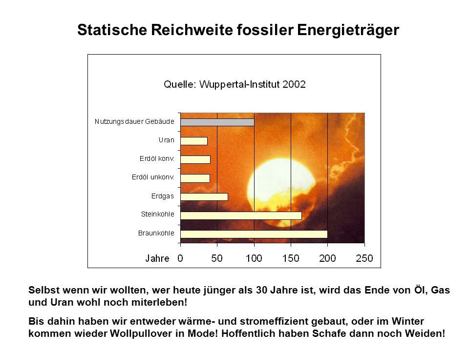 Statische Reichweite fossiler Energieträger Selbst wenn wir wollten, wer heute jünger als 30 Jahre ist, wird das Ende von Öl, Gas und Uran wohl noch miterleben.