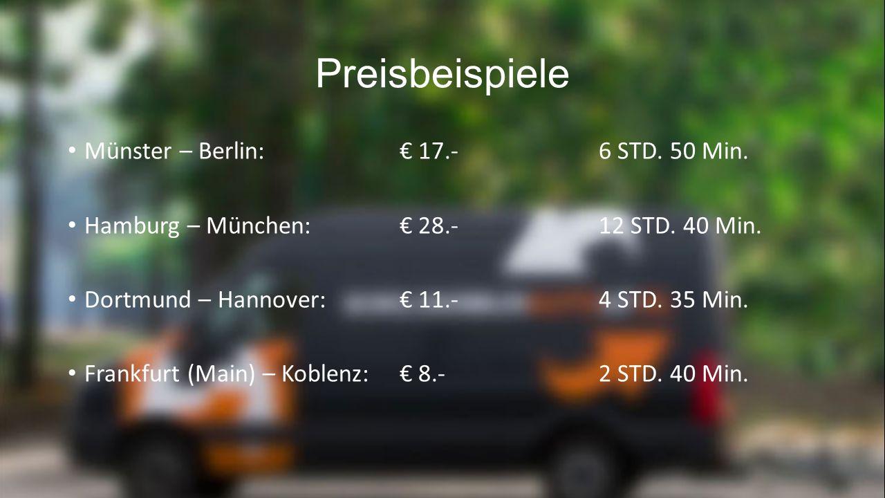 Preisbeispiele Münster – Berlin: € 17.-6 STD. 50 Min.