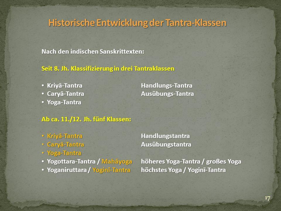17 Nach den indischen Sanskrittexten: Seit 8. Jh.