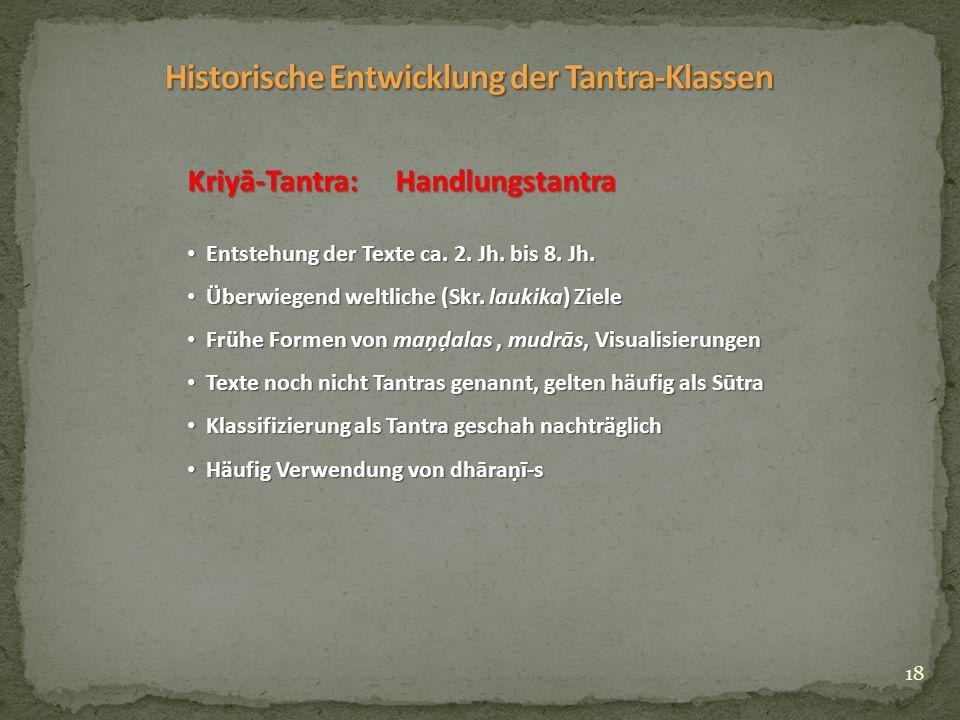 18 Kriyā-Tantra: Handlungstantra Entstehung der Texte ca.
