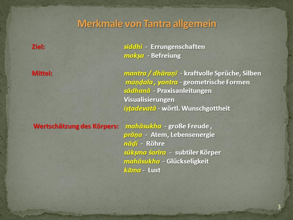 4 Esoterik:sāṃdhyābhāṣā - Zwielicht-Sprache guru - Lehrer ācārya - Gelehrter, Meister vajrācārya - tantrischer Meister samaya - Verpflichtungen, Gelübde abhiṣeka - Ermächtigung Regelüberschreitung:vāmācāra - linkshändiger Weg (Gegensatz : dakṣiṇācāra - rechtshändiger Weg) pancha makara (5.