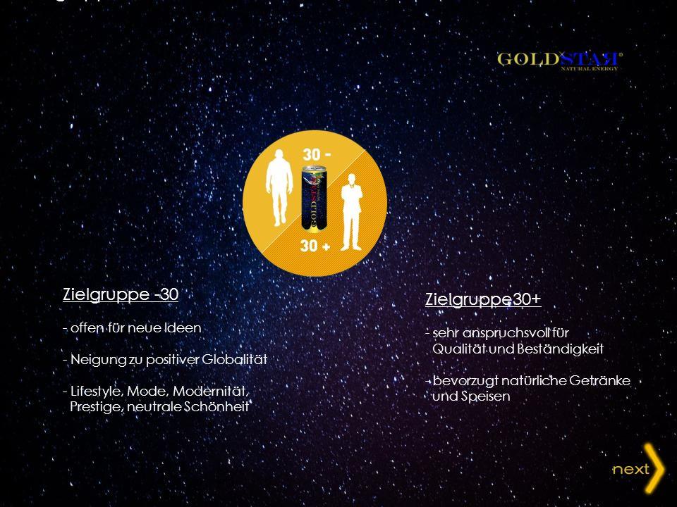 Zielgruppe -30 - offen für neue Ideen - Neigung zu positiver Globalität - Lifestyle, Mode, Modernität, Prestige, neutrale Schönheit Zielgruppe30+ - se