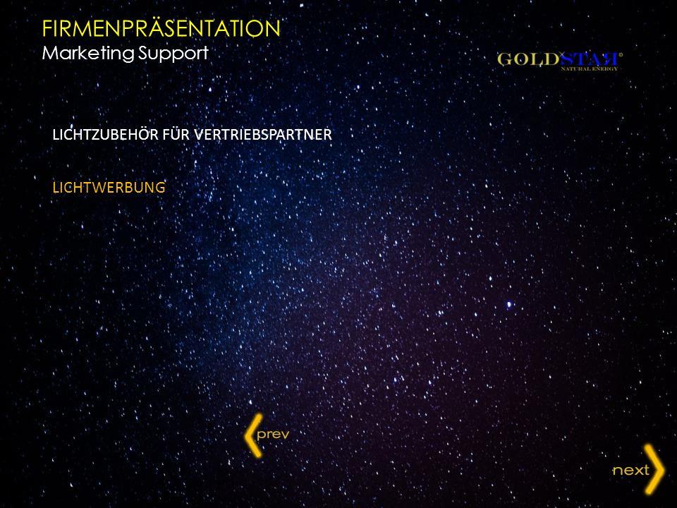 LICHTZUBEHÖR FÜR VERTRIEBSPARTNER LICHTWERBUNG FIRMENPRÄSENTATION Marketing Support
