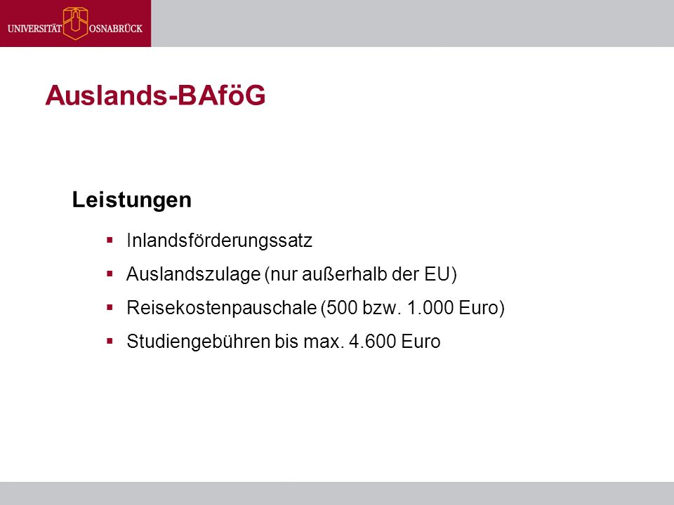 Auslands-BAföG Leistungen  Inlandsförderungssatz  Auslandszulage (nur außerhalb der EU)  Reisekostenpauschale (500 bzw. 1.000 Euro)  Studiengebühr