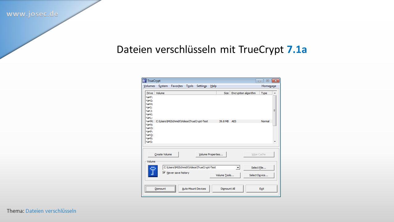 Dateien verschlüsseln mit TrueCrypt 7.1a Thema: Dateien verschlüsseln