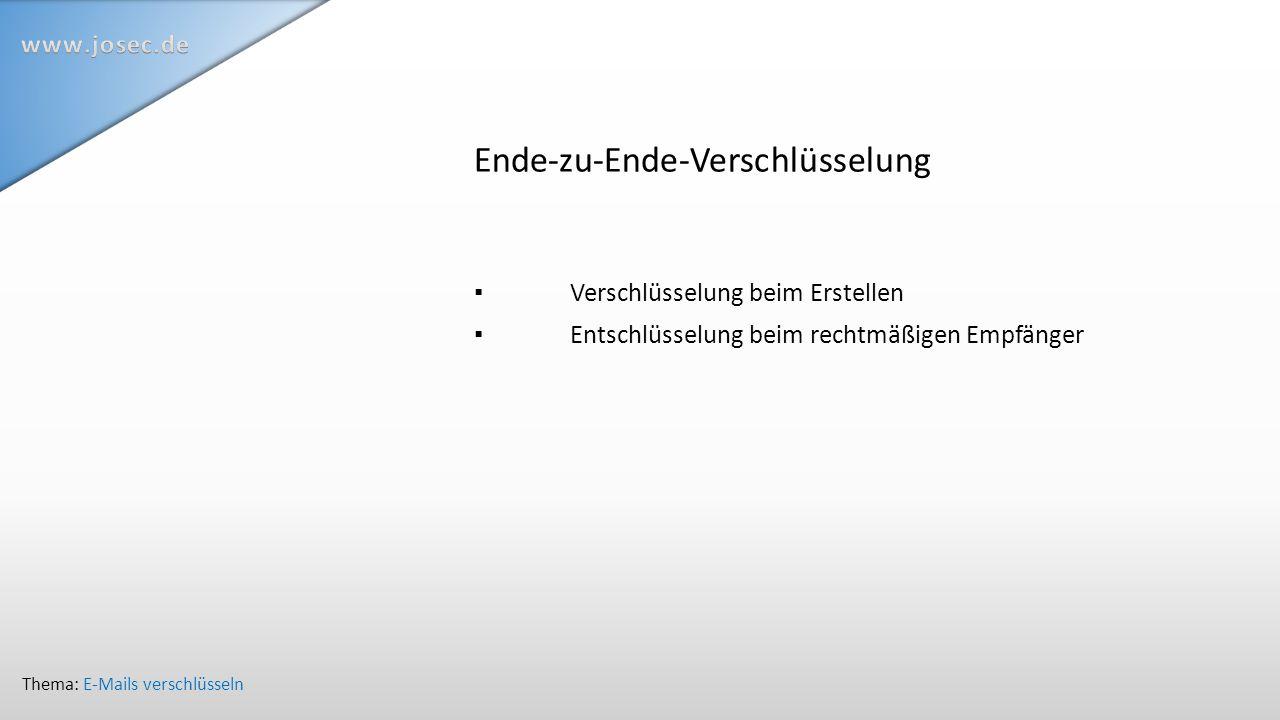 Ende-zu-Ende-Verschlüsselung ▪ Verschlüsselung beim Erstellen ▪ Entschlüsselung beim rechtmäßigen Empfänger Thema: E-Mails verschlüsseln