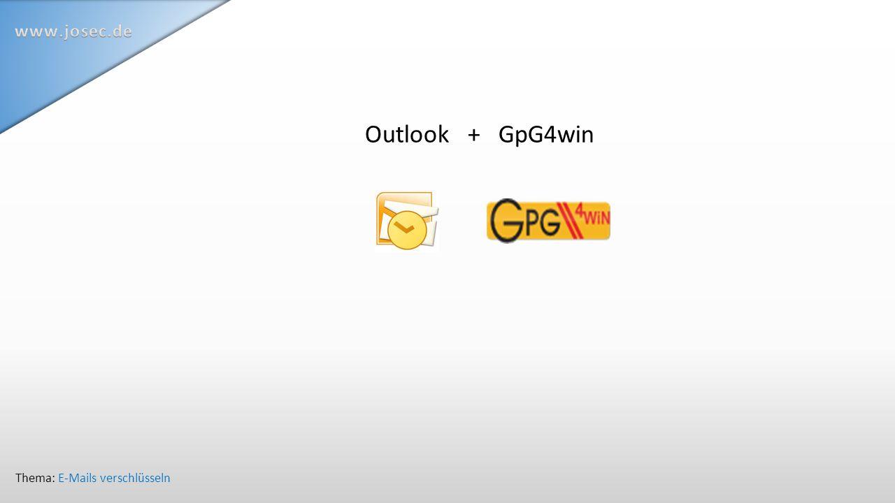 Outlook + GpG4win Thema: E-Mails verschlüsseln