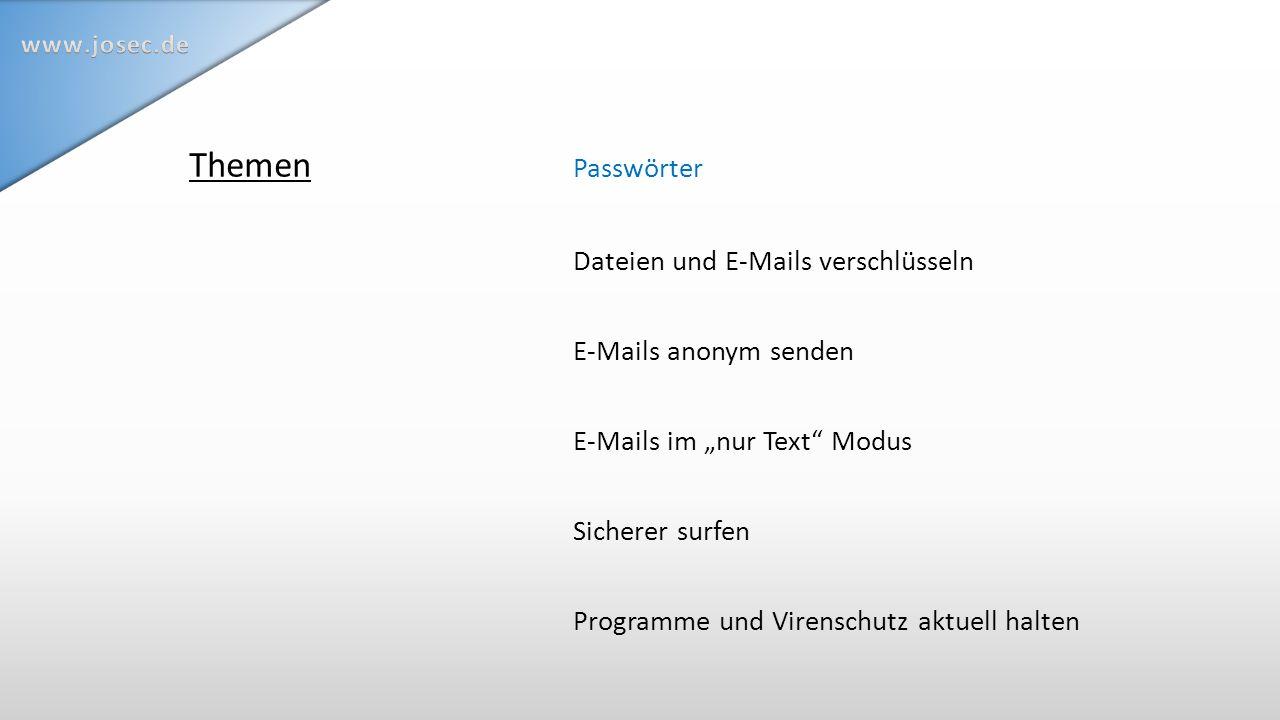 … mit OpenPGP & Co hat den Vorteil Gilt als eines der zur Zeit sichersten Verfahren Thema: E-Mails verschlüsseln