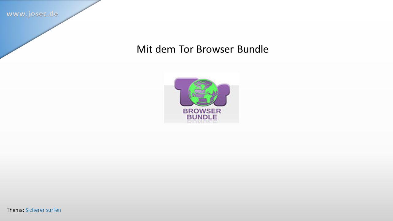 Mit dem Tor Browser Bundle Thema: Sicherer surfen