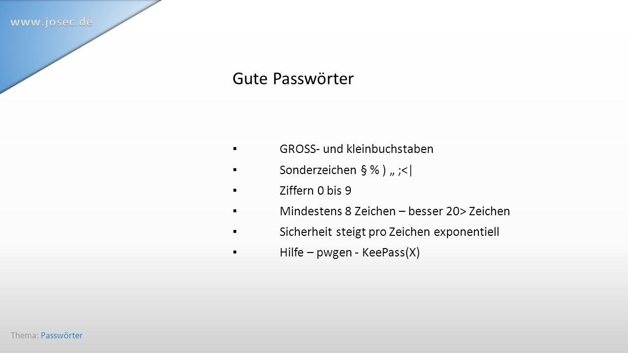 Passwortgenerator PWGen erzeugt Passwörter nach Maß Thema: Passwörter