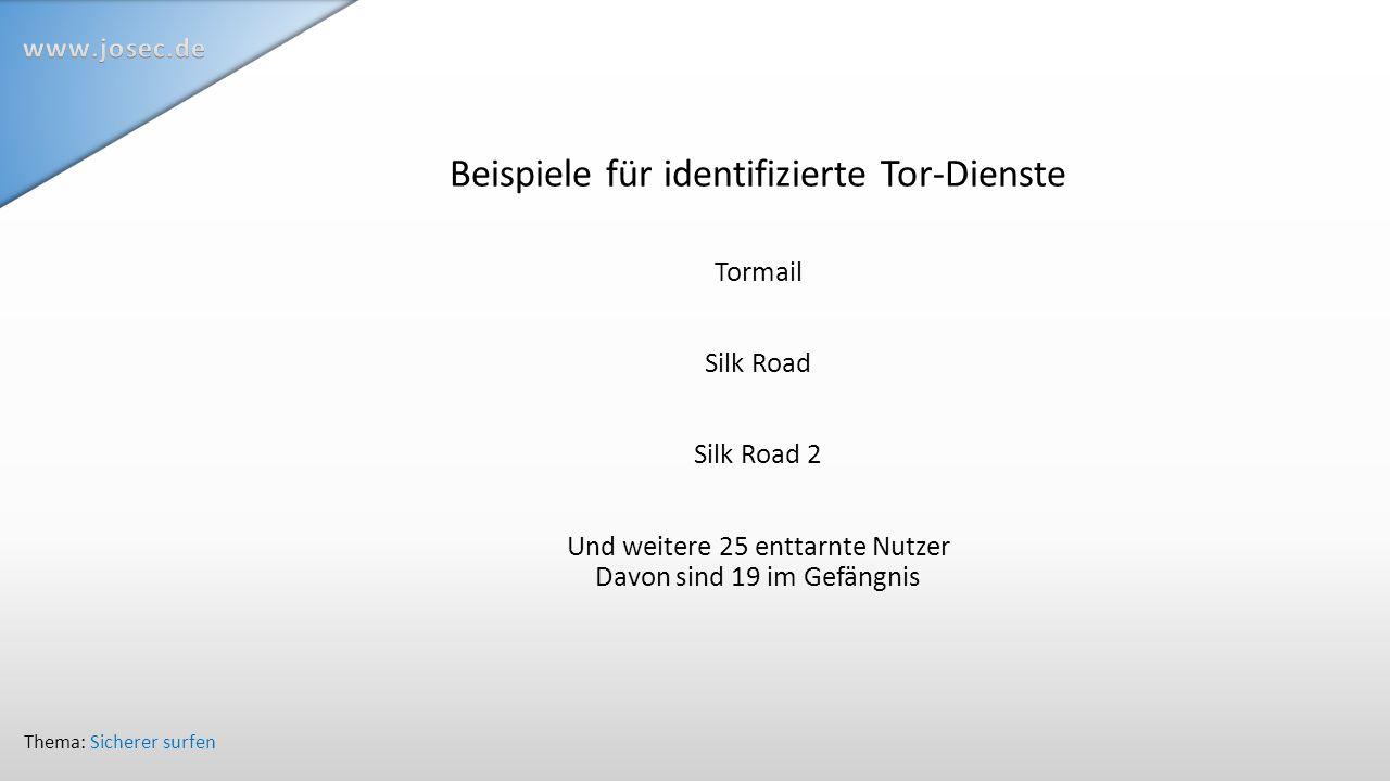 Beispiele für identifizierte Tor-Dienste Tormail Silk Road Silk Road 2 Und weitere 25 enttarnte Nutzer Davon sind 19 im Gefängnis Thema: Sicherer surfen