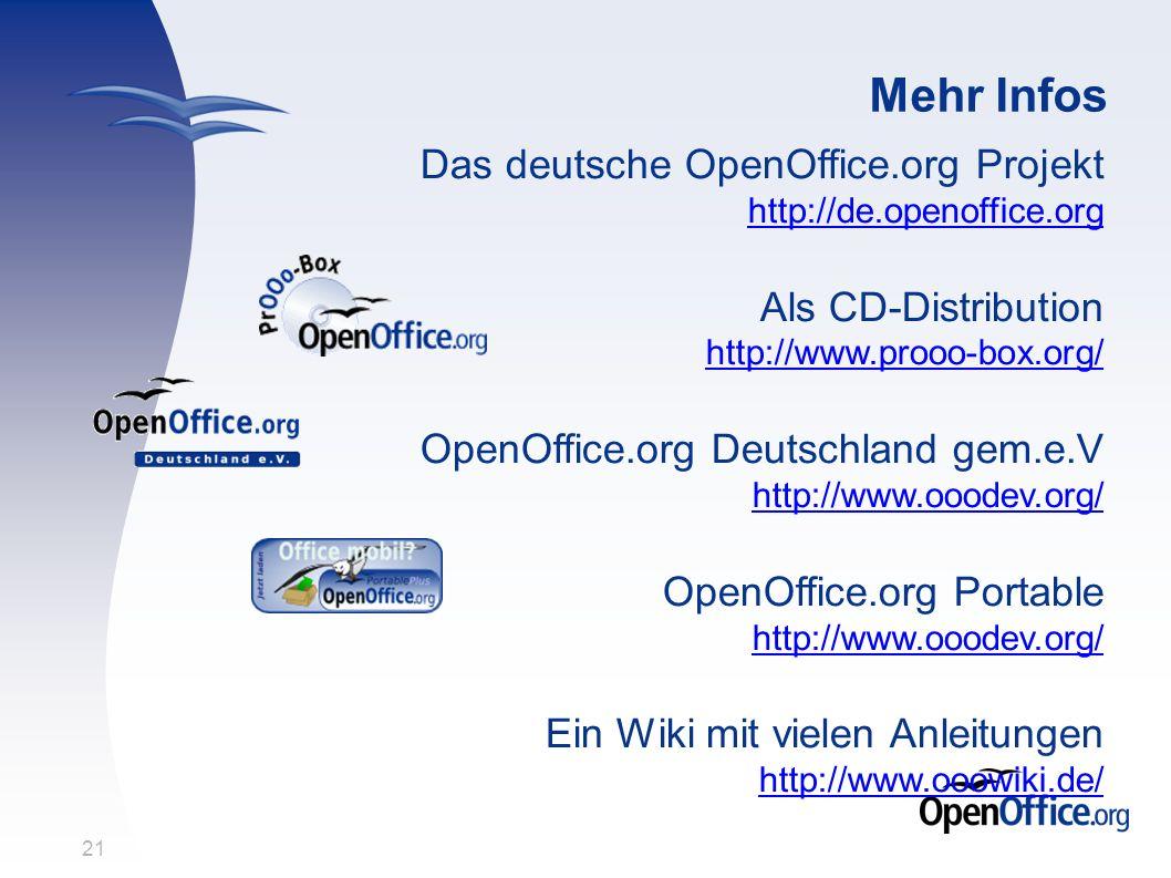 21 Mehr Infos Das deutsche OpenOffice.org Projekt http://de.openoffice.org http://de.openoffice.org Als CD-Distribution http://www.prooo-box.org/ http