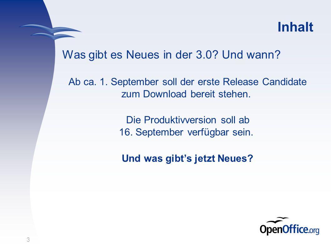 3 Inhalt Was gibt es Neues in der 3.0? Und wann? Ab ca. 1. September soll der erste Release Candidate zum Download bereit stehen. Die Produktivversion