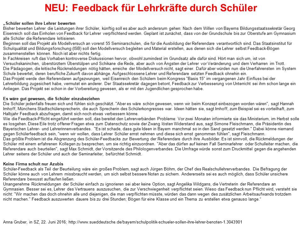 NEU: Feedback für Lehrkräfte durch Schüler Anna Gruber, in SZ, 22.