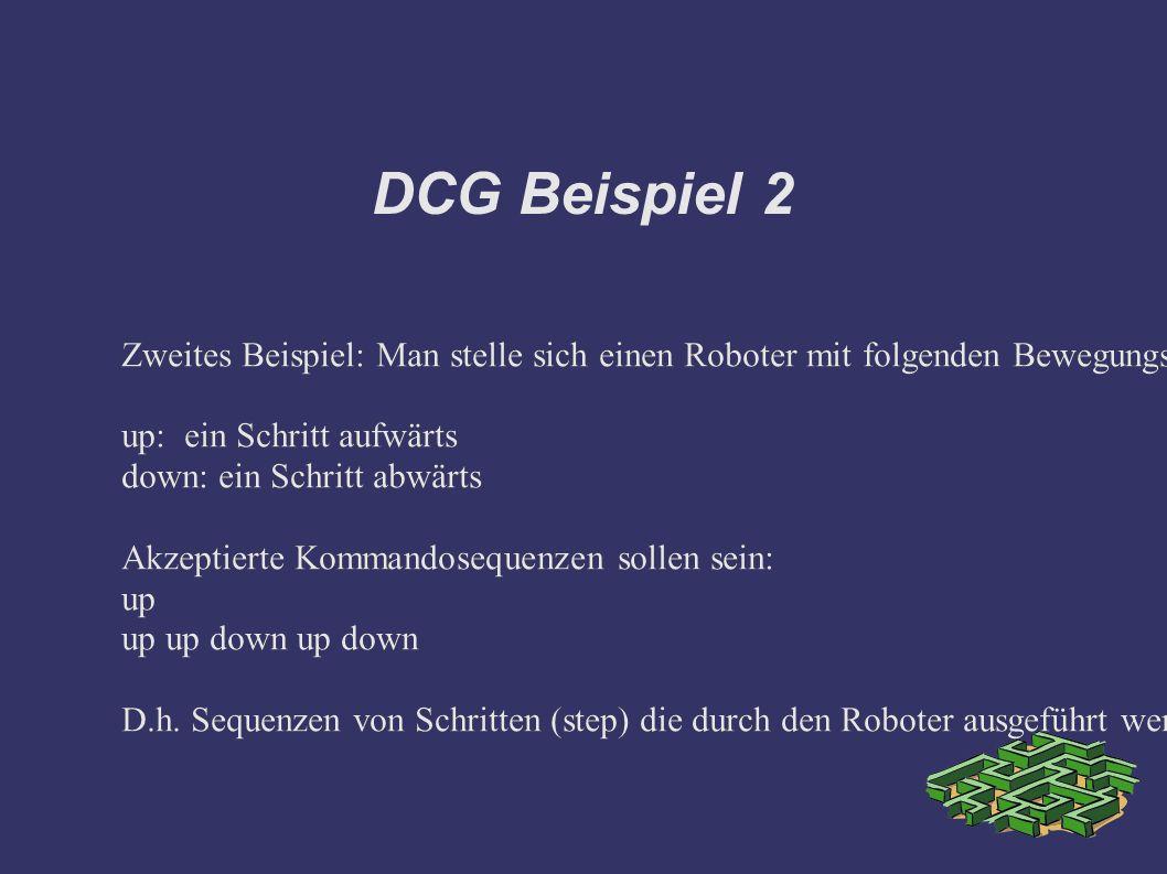 DCG Beispiel 2 Zweites Beispiel: Man stelle sich einen Roboter mit folgenden Bewegungsmöglichkeiten vor.