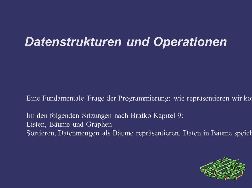 Datenstrukturen und Operationen Eine Fundamentale Frage der Programmierung: wie repräsentieren wir komplexe Datenobjekte etwa Mengen und wie implementieren wir -effizient- Operationen auf solchen Objekten.