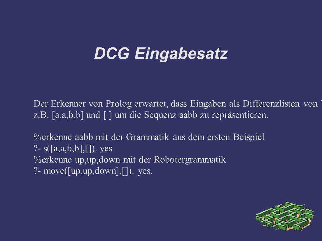 DCG Eingabesatz Der Erkenner von Prolog erwartet, dass Eingaben als Differenzlisten von Terminalsymbolen repräsentiert werden.