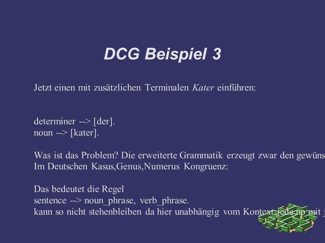 DCG Beispiel 3 Jetzt einen mit zusätzlichen Terminalen Kater einführen: determiner --> [der].