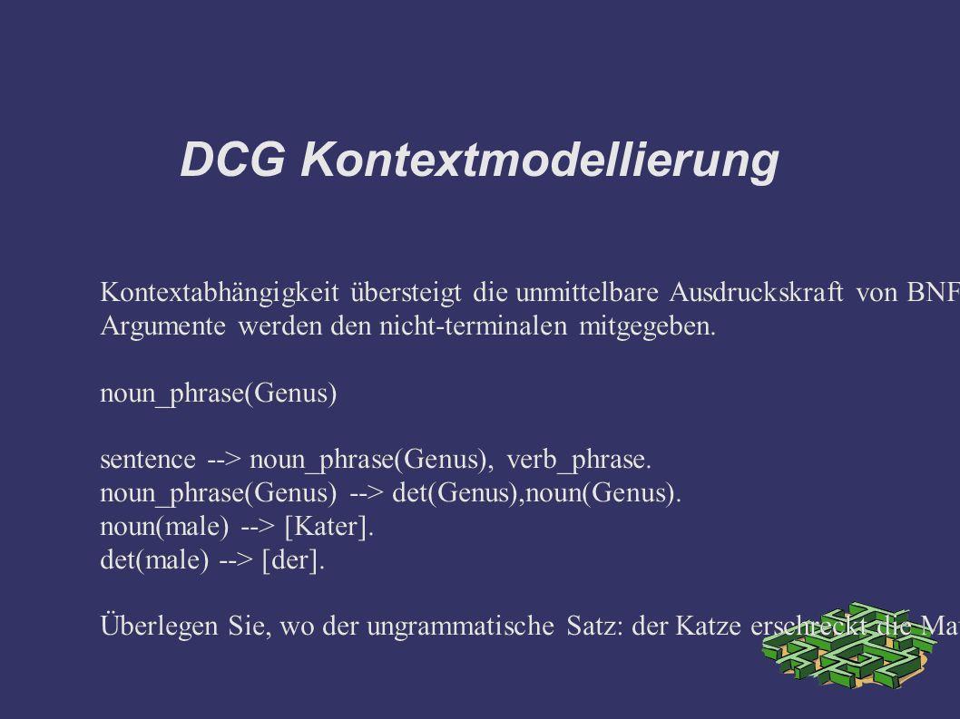 DCG Kontextmodellierung Kontextabhängigkeit übersteigt die unmittelbare Ausdruckskraft von BNF Grammatiken, sie ist aber leicht mit DCG Grammatiken auszudrücken.