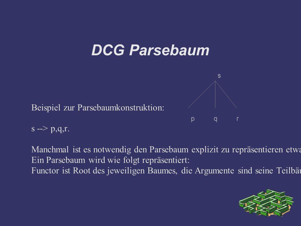 DCG Parsebaum Beispiel zur Parsebaumkonstruktion: s --> p,q,r.