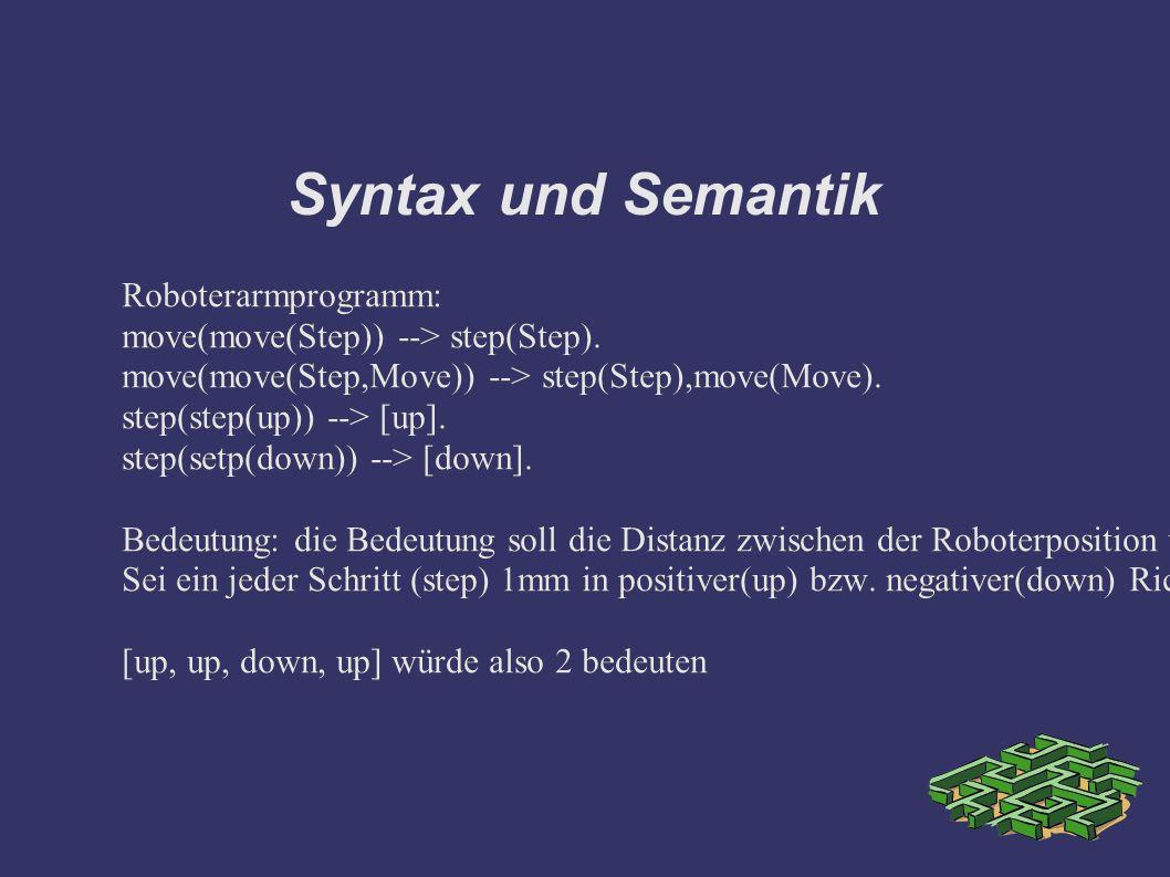 Syntax und Semantik Roboterarmprogramm: move(move(Step)) --> step(Step).