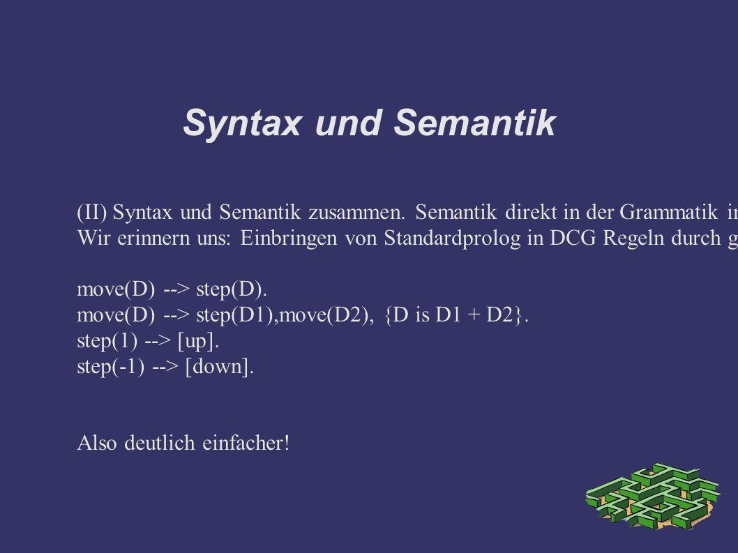 Syntax und Semantik (II) Syntax und Semantik zusammen.
