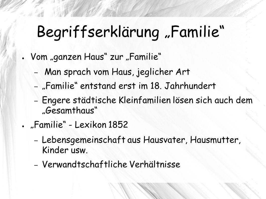 """Begriffserklärung """"Familie ● Vom """"ganzen Haus zur """"Familie – Man sprach vom Haus, jeglicher Art – """"Familie entstand erst im 18."""