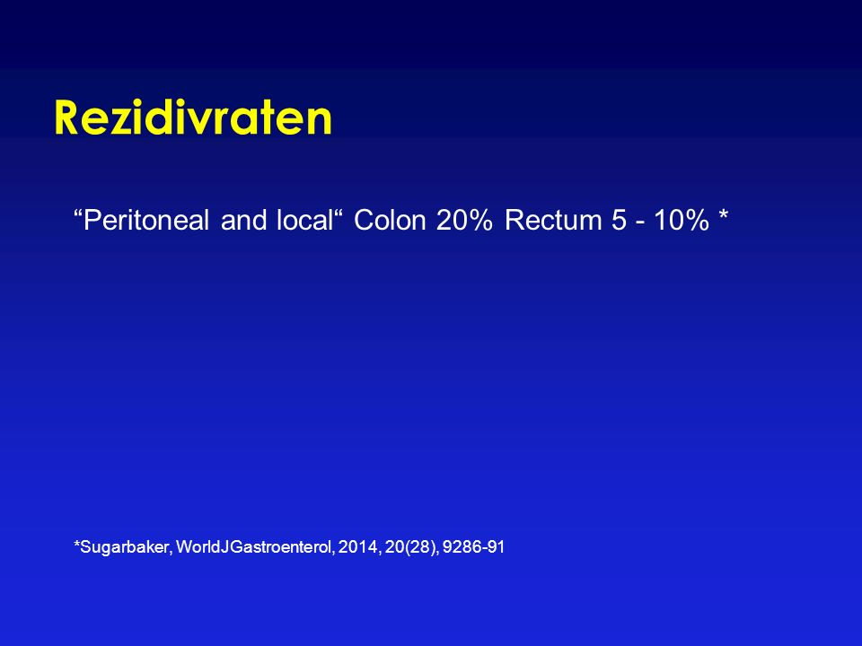 Rezidivraten Peritoneal and local Colon 20% Rectum 5 - 10% * *Sugarbaker, WorldJGastroenterol, 2014, 20(28), 9286-91