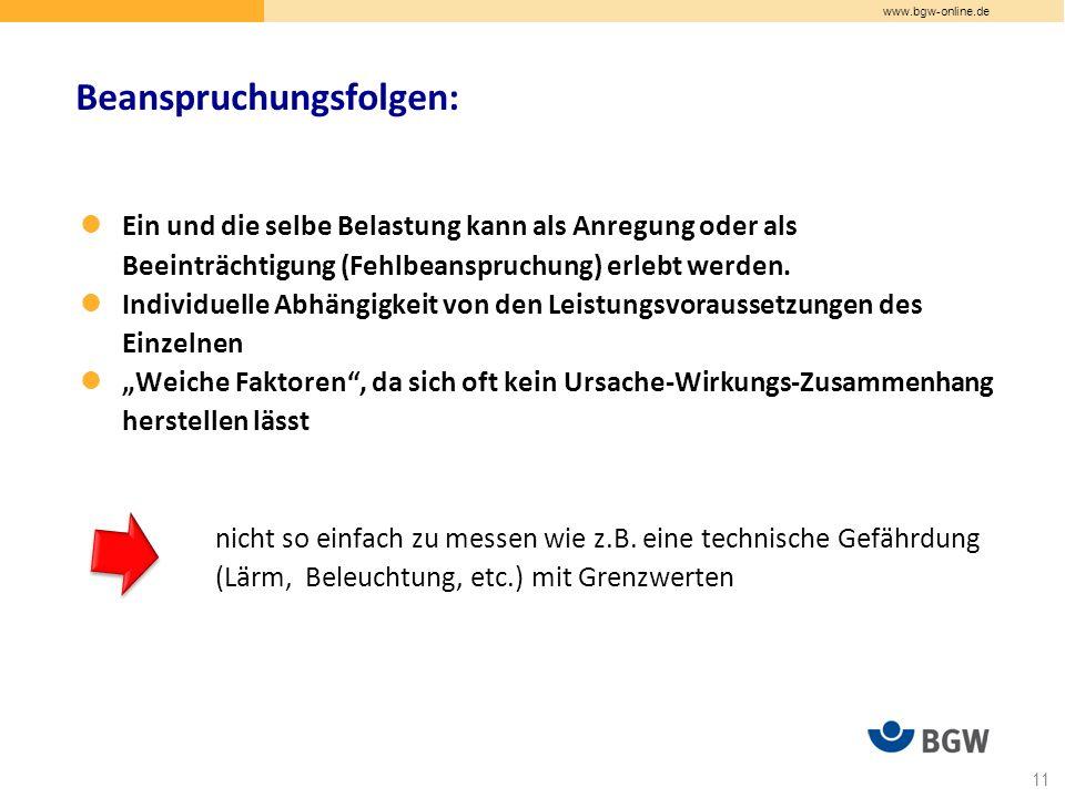 www.bgw-online.de Ein und die selbe Belastung kann als Anregung oder als Beeinträchtigung (Fehlbeanspruchung) erlebt werden.