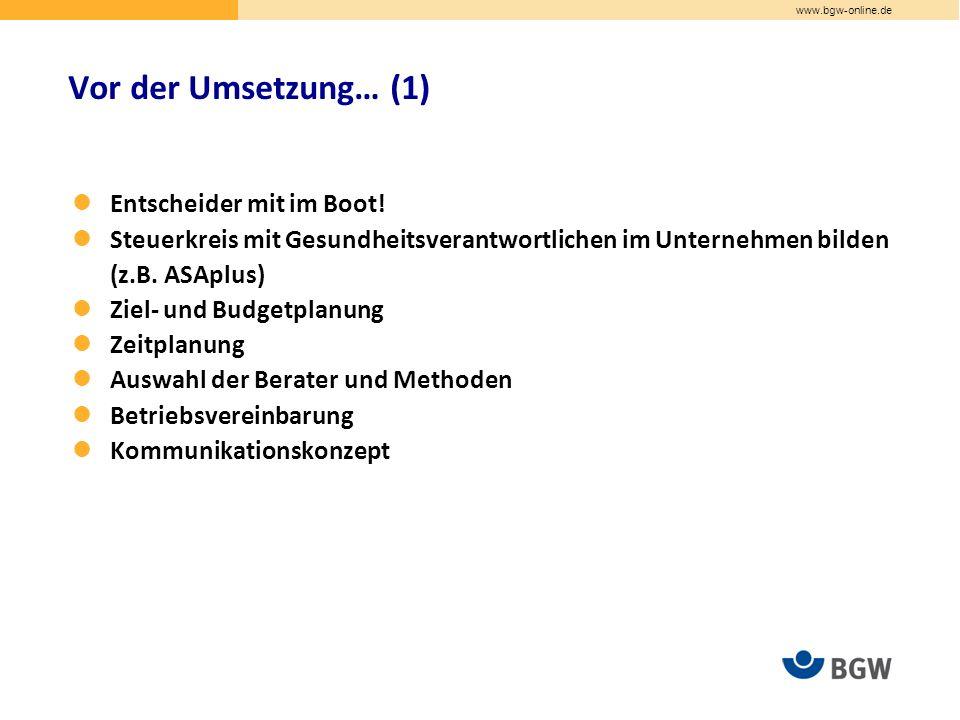 www.bgw-online.de Entscheider mit im Boot.