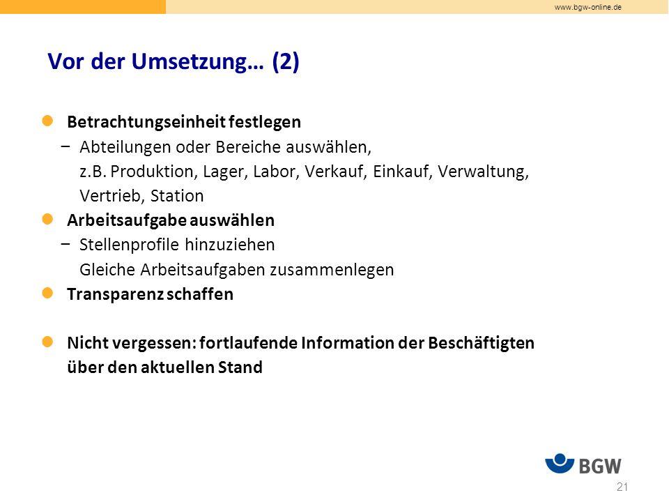 www.bgw-online.de Betrachtungseinheit festlegen − Abteilungen oder Bereiche auswählen, z.B.