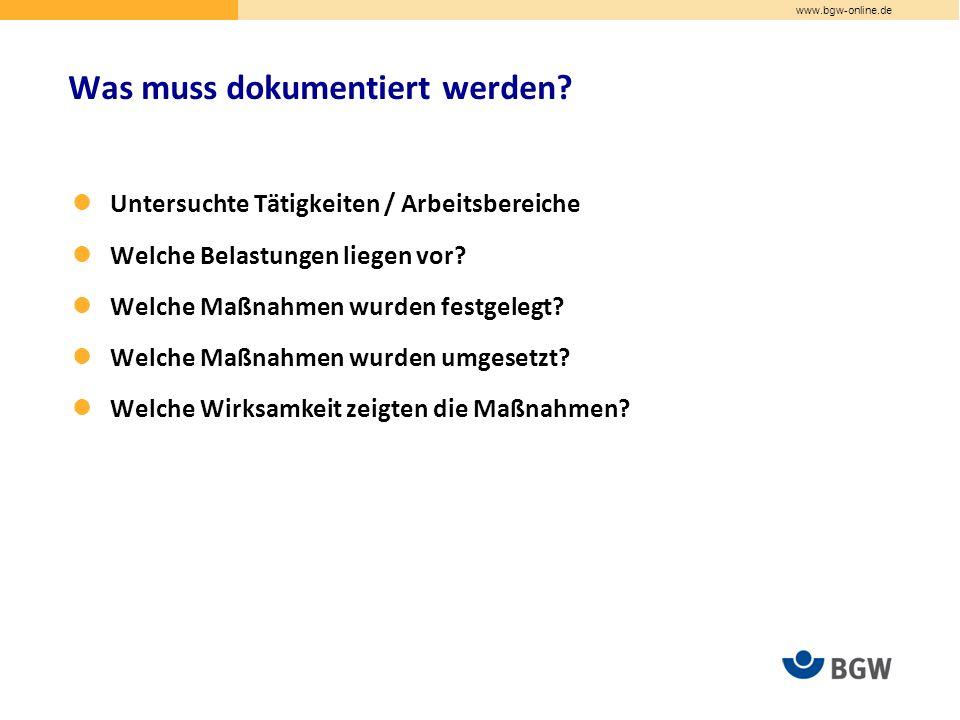 www.bgw-online.de Untersuchte Tätigkeiten / Arbeitsbereiche Welche Belastungen liegen vor.