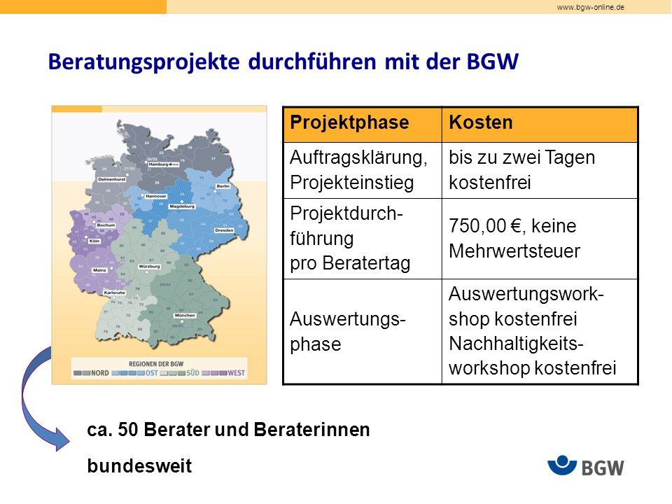 www.bgw-online.de Beratungsprojekte durchführen mit der BGW ca.