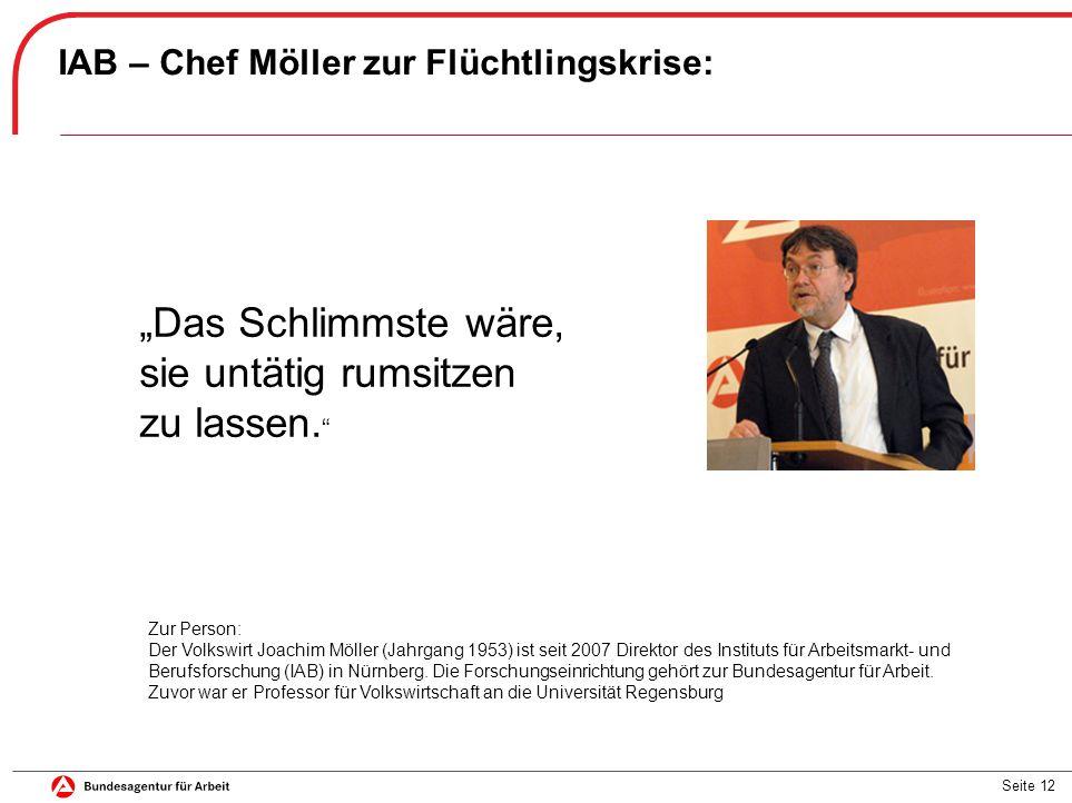 """Seite 12 IAB – Chef Möller zur Flüchtlingskrise: """"Das Schlimmste wäre, sie untätig rumsitzen zu lassen."""