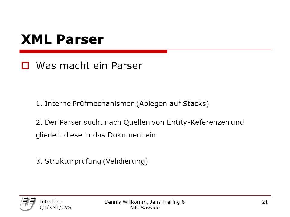 Dennis Willkomm, Jens Freiling & Nils Sawade 21 Interface QT/XML/CVS XML Parser  Was macht ein Parser 1. Interne Prüfmechanismen (Ablegen auf Stacks)