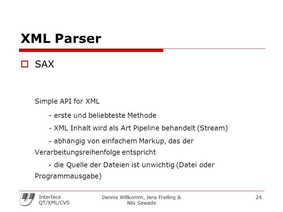 Dennis Willkomm, Jens Freiling & Nils Sawade 24 Interface QT/XML/CVS XML Parser  SAX Simple API for XML - erste und beliebteste Methode - XML Inhalt wird als Art Pipeline behandelt (Stream) - abhängig von einfachem Markup, das der Verarbeitungsreihenfolge entspricht - die Quelle der Dateien ist unwichtig (Datei oder Programmausgabe)