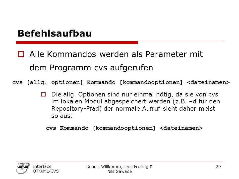 Dennis Willkomm, Jens Freiling & Nils Sawade 29 Interface QT/XML/CVS Befehlsaufbau  Alle Kommandos werden als Parameter mit dem Programm cvs aufgerufen  Die allg.