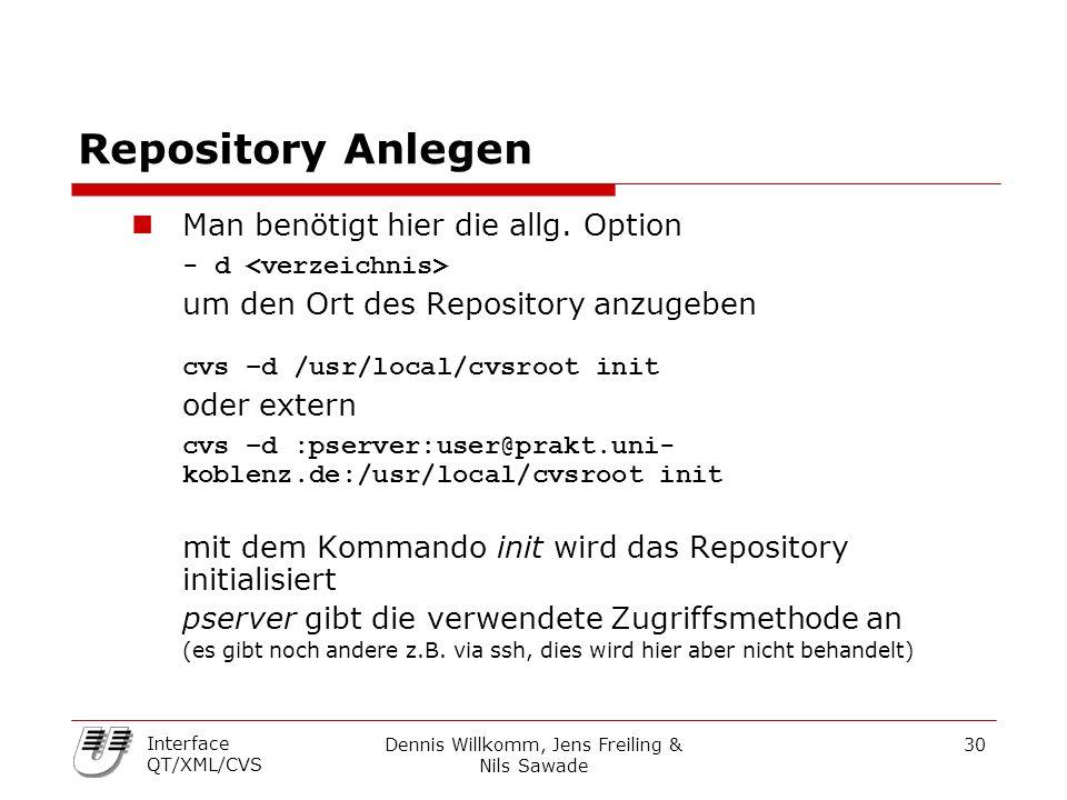 Dennis Willkomm, Jens Freiling & Nils Sawade 30 Interface QT/XML/CVS Repository Anlegen Man benötigt hier die allg. Option - d um den Ort des Reposito
