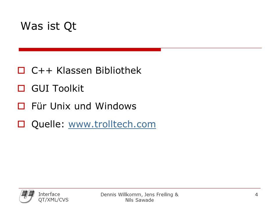 Dennis Willkomm, Jens Freiling & Nils Sawade 25 Interface QT/XML/CVS XML Parser  DOM Document Object Model - Baummethode - Möglichkeit zu jedem Punkt zu gehen - mehr Ressourcen erforderlich