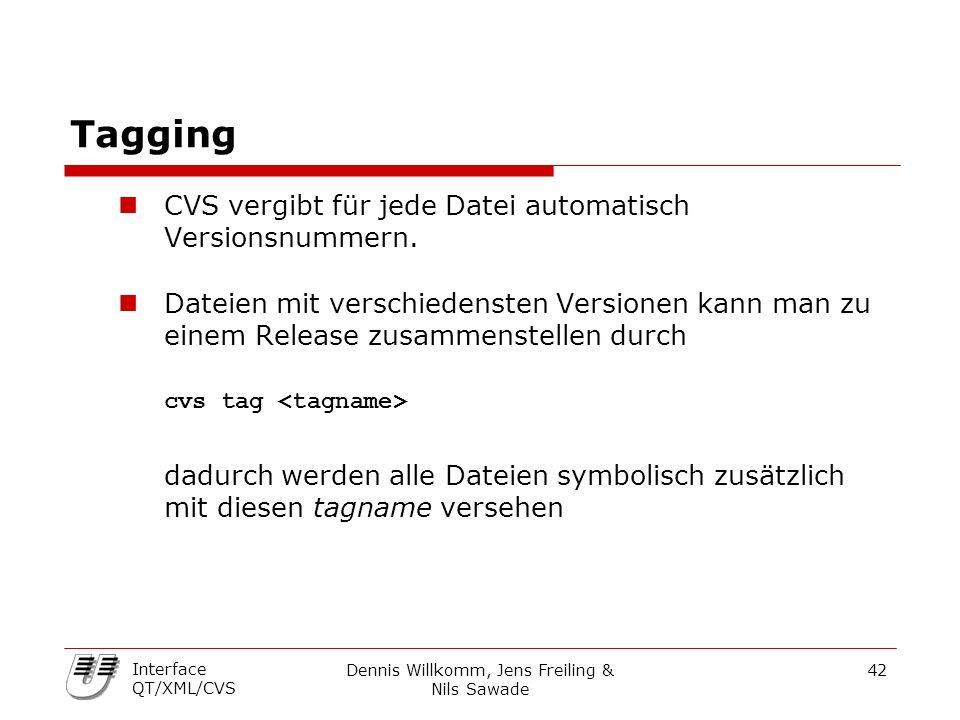 Dennis Willkomm, Jens Freiling & Nils Sawade 42 Interface QT/XML/CVS Tagging CVS vergibt für jede Datei automatisch Versionsnummern. Dateien mit versc