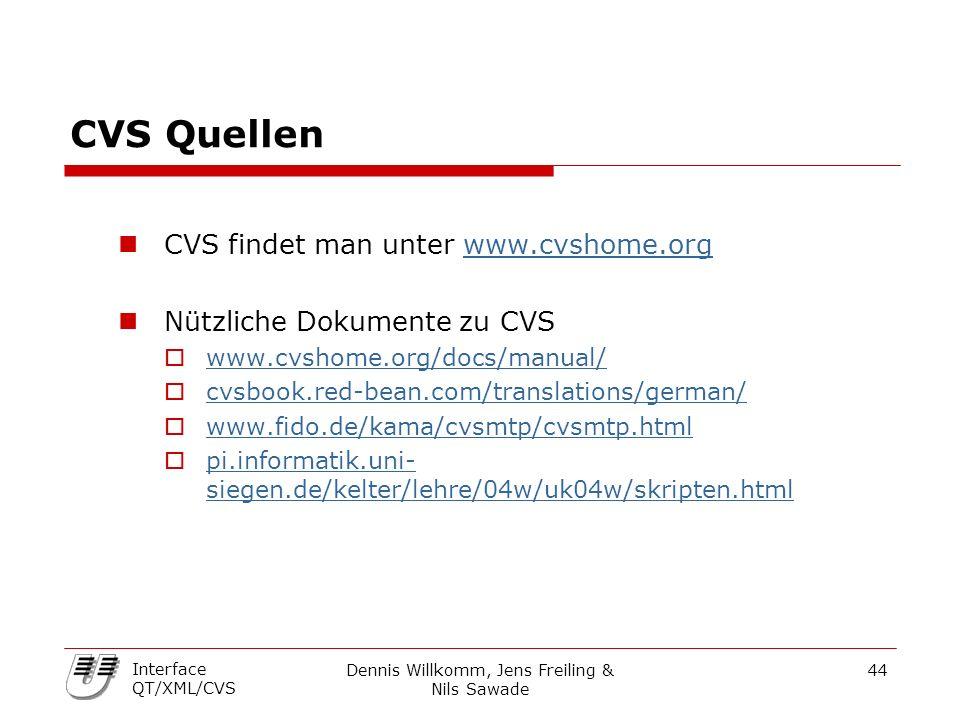 Dennis Willkomm, Jens Freiling & Nils Sawade 44 Interface QT/XML/CVS CVS Quellen CVS findet man unter www.cvshome.orgwww.cvshome.org Nützliche Dokumente zu CVS  www.cvshome.org/docs/manual/ www.cvshome.org/docs/manual/  cvsbook.red-bean.com/translations/german/ cvsbook.red-bean.com/translations/german/  www.fido.de/kama/cvsmtp/cvsmtp.html www.fido.de/kama/cvsmtp/cvsmtp.html  pi.informatik.uni- siegen.de/kelter/lehre/04w/uk04w/skripten.html pi.informatik.uni- siegen.de/kelter/lehre/04w/uk04w/skripten.html