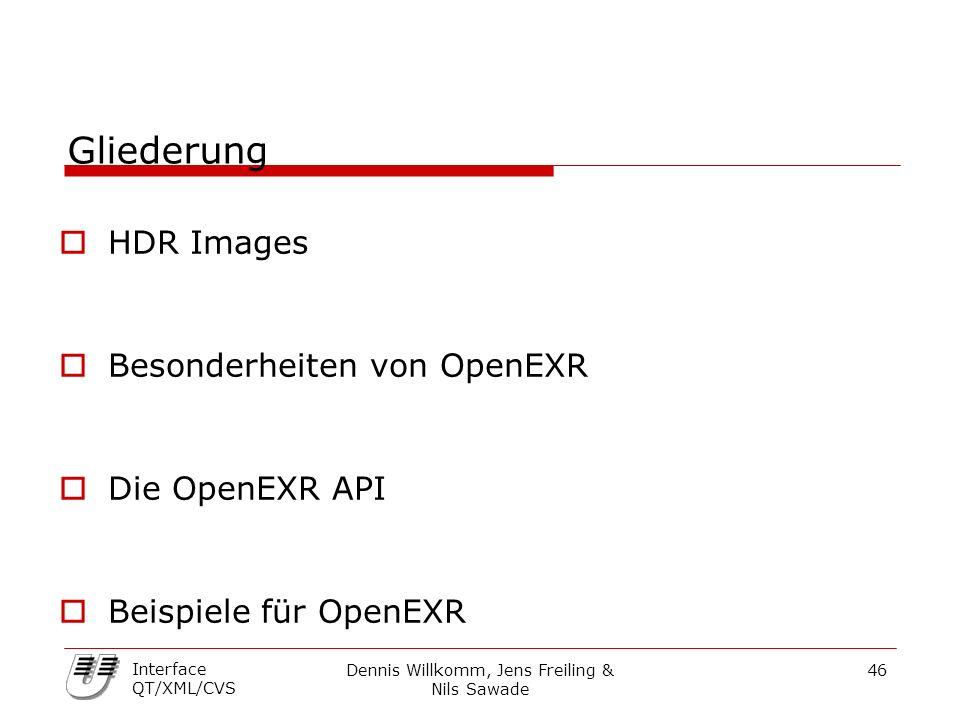 Dennis Willkomm, Jens Freiling & Nils Sawade 46 Interface QT/XML/CVS Gliederung  HDR Images  Besonderheiten von OpenEXR  Die OpenEXR API  Beispiel