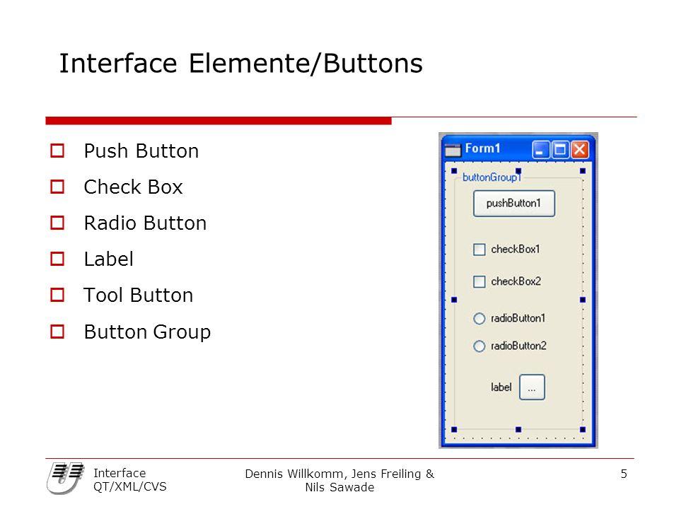 Dennis Willkomm, Jens Freiling & Nils Sawade 6 Interface QT/XML/CVS Interface Elemente/Input  Scrollbar  Slider  Combo Box  Spin Box  Line Edit  Dial  LCDNumber  PixmapLabel