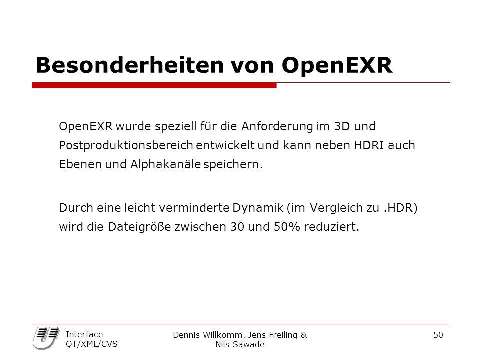 Dennis Willkomm, Jens Freiling & Nils Sawade 50 Interface QT/XML/CVS Besonderheiten von OpenEXR OpenEXR wurde speziell für die Anforderung im 3D und P