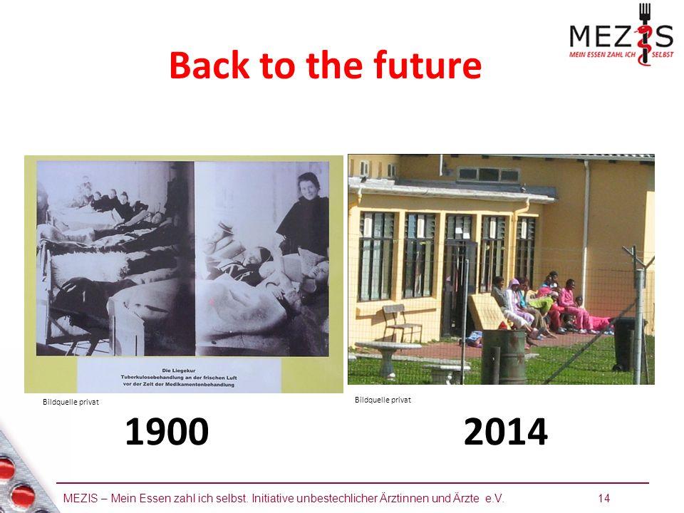 MEZIS – Mein Essen zahl ich selbst. Initiative unbestechlicher Ärztinnen und Ärzte e.V. 14 Back to the future 19002014 Bildquelle privat